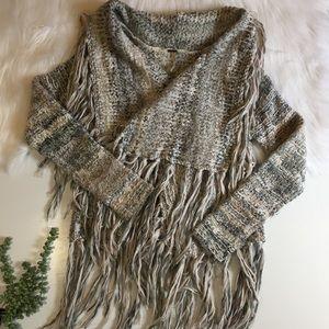 Free People Knit Fringe Sweater | Size Medium